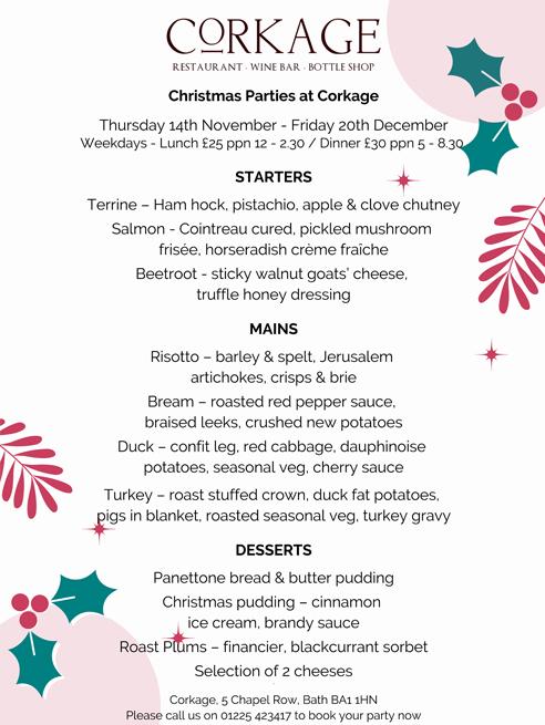 Corkage Christmas 2019 Menu