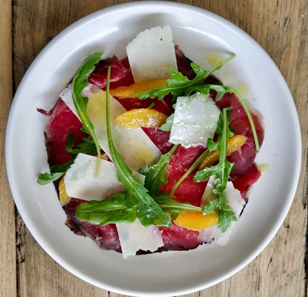 House-cured Belted Galloway bresaola, pecorino cheese, orange and rocket. Now with added black summer truffle! On at Chapel this week. #homemadefood