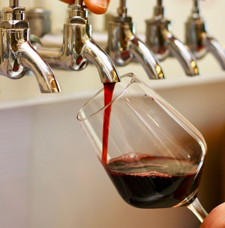 Dreams come true at Corkage. We have wine that comes out of a tap! Like a bath. The first 6 people who come through the door at Walcot Street on Friday at 5.30 pm and say 'Tap, Frankie, tap' will get a glass of red or white free of charge.