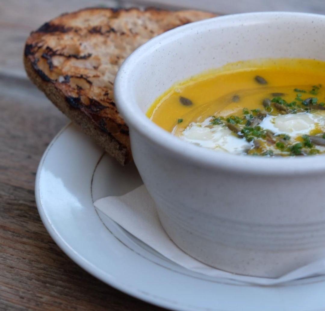 Red Kuri squash soup, gorgonzola, toast. Set menu starter at Chapel Row this week. #autumniscoming