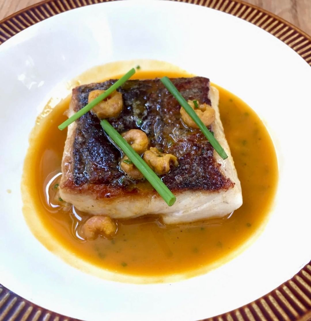 The show (and the food) must go on. Starting 2020 with a fishy Friday dish at Chapel Row of hake fillet on a shellfish sauce with brown shrimp.