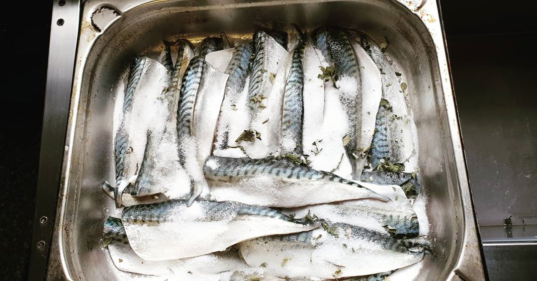 Beautiful Mackerel curing in sugar and kaffir lime leaf for the menu at Walcot Walcot Street  @bath.bites @bathrestaurants #corkagebath #freshisbest